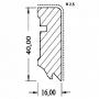 Sokl.lišta Bielaj UM 630, 16x40x2700 mm